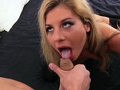 Impressive blonde uses her magic lips to stroke this cock in a wild oral porn scene