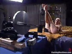 This playful and sexy blond honey Sharon Wild gets naked and makes some love with a fucking machine! It penetrates her so fucking hard!