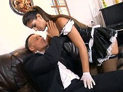 Superb brunette babe in housemaid uniform has hot lesbian sex with blonde woman. Then she also pleases a man. Defrancesca sucks huge cock and also gets ass fucked.