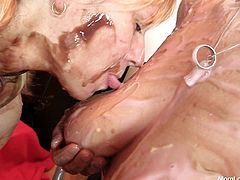 These moms like getting really dirty! Not only they cover each other with vanilla and chocolate cream, they do it in such a manner that it's hard not to jerk off when you see them. Talking about dirty and cream, look at the blonde's pussy, surely her gf will have a lot of what to lick from it!