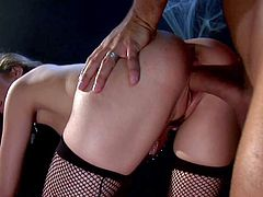 Young looking little bitch Jena Haze with pretty face and tight firm ass in fishnet stockings teases Voodoo with huge meaty cock and gets pounded hard in doggy style position.