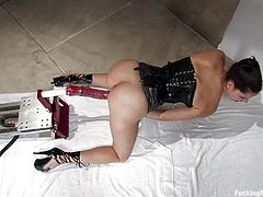 Pretty brunette Bobbi Starr wearing a corset is having fun in her room. She fondles herself tenderly and then gets her vag toyed to orgasm by a fucking machine.