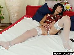 Watch these two horny housewives in their naughty sex desires.They both strips off their clothes and spreads their hairy pussy to get licked and fingered by each other.Enjoy these horny moms fingering and toying hard.