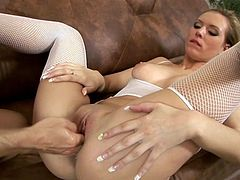 Natural tits and big nipples makes that nasty and horny slut in white stocking look perfect and she can not wait to feel hard cock in her tight hole.