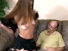 This old school man simply adores to wank and lick some fresh pussy, so when ever he feels horny, he calls some hooker to come and let him do it, like this one did