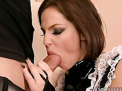 Brunette Bobbi Starr gets probed in the bottom
