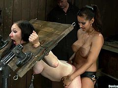 Isis Love is having fun with two slutty brunettes in a basement. Isis shackles the sluts and then drills their vags with a strapon from behind.