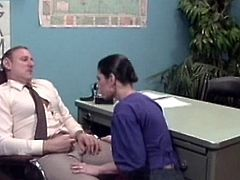 Needy slut enjoys having a good fuck with her boss during naughty hardcore at work