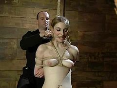 Bound Ela Darling gets her pussy toyed and ass fingered