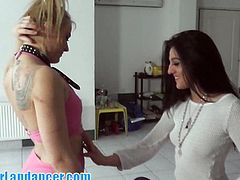 There is nothing better than two hot Czech girls playing with hour cock. Watch them giving an amazing lapdance and stroking his meat like the little sluts they are!