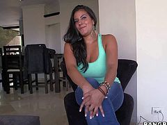 Tanned exotic bombshell Juliana comes from Colombia. She reveals her enormous jaw dropping gazongas and teases randy stud with round bouncing ass at interview filmed in point of view.
