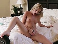 Tiny blonde Skylar Green cant resist the temptation to masturbate after she gets all worked up from showing off her perfectly perky titties and tight twat for the camera
