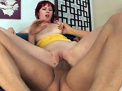 Zoey Nixon is a redhead who has extra large home grown knockers with big nipples making them very tempting to suck. You'll be watching her giving this guy a handjob, before he slips his fat rod into her totally shaved crotch, fucking her until he bends her over, holds onto her butt cheeks and rams it home. Finally, she gets an up the nose facial cumshot.