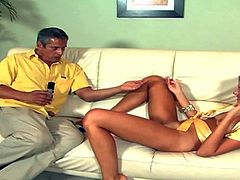 Young sexy babe Nika Noir gives handjob to older man and then spreads her long legs wide open invitingly. Aged man sticks vibrator in her pink love hole. She gets toy fucked on the couch and loves it.