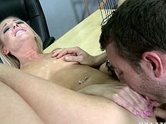 Lusty blonde student chick gets eaten and plowed doggystyle