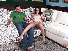 Brunette doll Gabriella Paltrova gets her nice face covered in jizz after sex with horny guy