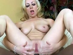 Nice White girl stands on all fours. Some big cocked Black dude fucks her in the mouth. Then she get ass fucked and facialed.