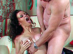 Experienced tall and skillful stud Evan Stone with long stiff sausage licks slender black haired babe Raven Alexis with perfect firm tits and drills her wet twat to loud orgasm.