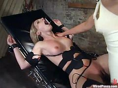 Stunning Blonde Dominates Girl in Wild Lesbian BDSM Video