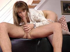 Lovely Lora Summer amazes with warm blowjob before having her pussy drilled well