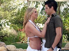 Delightful busty blonde MILF seduces horn stud over the pool