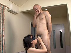 Naughty Japanese skank gets blindfolded so she has no idea who's cock she is sucking. Three men stay in line and face fuck her one after another.