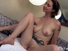 Sexy brunette amateur babe Muse masturbating her slick twat with toy