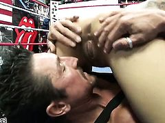 Daisy Marie with massive tits and shaved twat is good at boner sucking and loves it