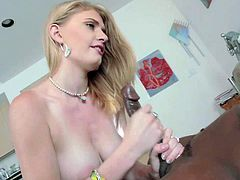 Young adorable blonde Allie James with soft pale skin and big natural hooters gets tight ass licked by tall black bull and takes on his enormously big cannon with great lust.