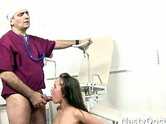 This girl warmly receives his finger and speculum exam and when the dirty old man pulls his cock out she opens up and sucks him