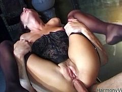 This naughty brunette whore feels comfortable fucking with three studs at once. In this breathtaking sex video she will gives us a true double penetration extravaganza. Check out this hot sex video now and I'm pretty sure you will enjoy watching it.