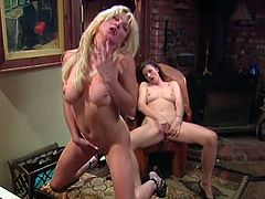 Blonde and brunette MILFs play the piano and then start to masturbate. They take their dresses off and finger shaved pussies as deep as they can.