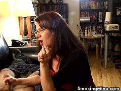 Brunette mature Mina is smoking cigarettes to satisfy her fetishes. She loves puffing cigarettes and chatting with younger boys to make them jerk off on the camera.
