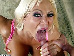 1000 Facials brings you an exciting free porn video where yo ucan see how the busty Russian milf Nikita Von James gives a pov blowjob before getting creamed.
