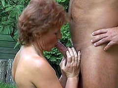 This mature amateur is a horny slut who offers up her back side for some anal outdoors. She gets what she wants and goes off big time