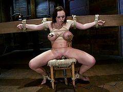 Brunette chick with big booty and tits sits on a chair being tied up. Then the master fixes claws and clothespins to her boobs. Later on he also toys her vagina with a vibrator.