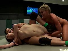 Princess Donna Dolore, Shae Simone, Iona Grace and Beretta James are having a wrestling match on tatami. The lesbians beat each other and then the losers get their pussies pounded by the winners.
