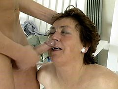 Mature brunette Abby is getting naughty with some guy near an indoor pool. The old bitch shows her cock-sucking skills to the guy and then enjoys ardent doggy style banging.
