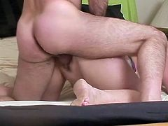 A hot brown-haired mom is playing dirty games with some handsome stud in the bedroom. She allows him to rub her juicy cunt and then they have sex in cowgirl, missionary and other positions.