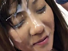 Lusty japanese chick plays really nasty during top gang bang porn session