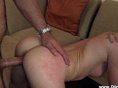 Blonde whore Skyler loves to be disgraced, it turns her on! The slutty blonde is grabbed by her pretty face, pussy drilled and then, jizzed all over her face. After all that hard fucking from behind and a big load of cum on the face, Skyler enjoys her humiliation and the taste of semen. What a filthy whore she is!