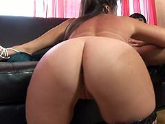 A busty mature lesbian and her similar lover get down and dirty by burying their faces between each others legs. The one who takes a vibrator in her cunt gets off.