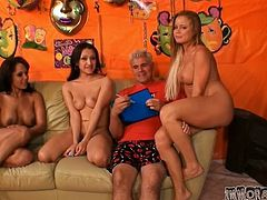 Two brunettes and a blonde demonstrate their blowjob skills to three dudes. These girls also give a rimjob and a handjob to lucky dudes.