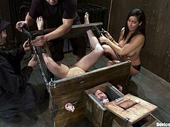 Naughty girls lie on the floor being tied up. Their master puts their heads into some wooden boxes. After that two girls get their pussies toyed by brunette mistress.