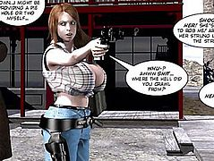 3D Comic:menacing Six Gun Sisters.fearsome Movie Scene 5