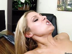 Peter North stretches irresistibly sexy Natalie Vegass mouth with his meaty love wand to the limit