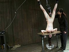 Honey is lured to the underground world of submission! She gets trapped in the bondage device, which gives her a nice upside down suspension and pussy penetration!