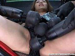 Oriental slut is ready for some really nasty and hardcore punishment. She spreads legs to get her cunt toyed with various toys and starts to squirt like never.