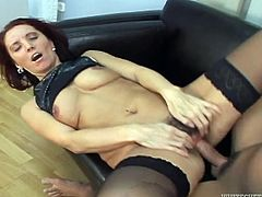 We got a video here that features a hairy mature woman is getting drilled by some big cock in several different positions.