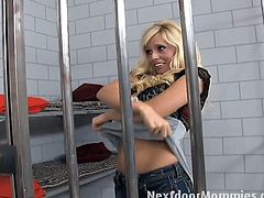 Courtesy of Next Door Mommies you can see how a sexy blonde milf sucks and rides a a hard cock in jail in this awesome free porn video. She looks very hot in those stockings!